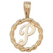 9ct Gold Round rope edged Initial letter P pendant 0.8g